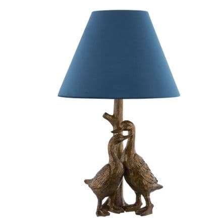 Gold Pair Of Ducks Table Lamps With Velvet Shade